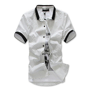 Men's Cotton Blend Shirt in Dot with Piping Detail