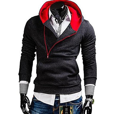 Men's Slim Contrast Color Hooded Sweatshirt