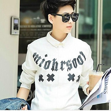 Men's Printed Letters LES Long Sleeve ShirtsTop
