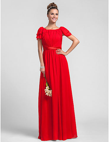 Bridesmaid Dress Floor Length Ruffles Chiffon Sheath Column Square Dress