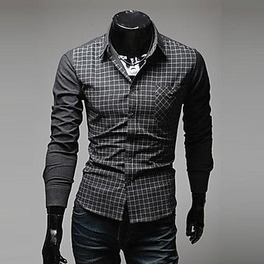 Men's V Neck New Korean Style Slim Long Sleeved Plaid Shirt