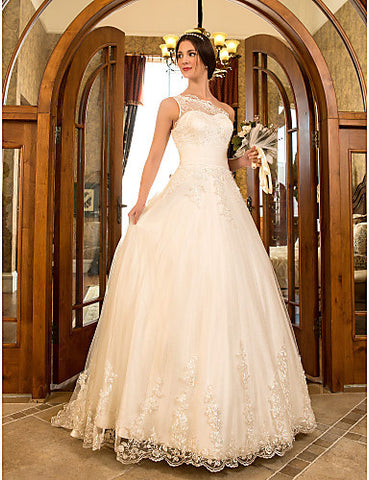 A-line Princess One Shoulder Sweep/Brush Train Tulle And Lace Wedding Dress (632801)