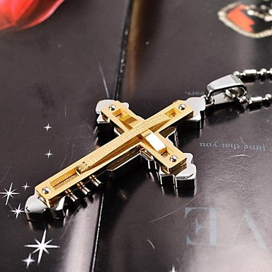 Fashion Men's Gold/Silver/Black Double-layer Cross 316L Stainless Steel Pendant Necklace
