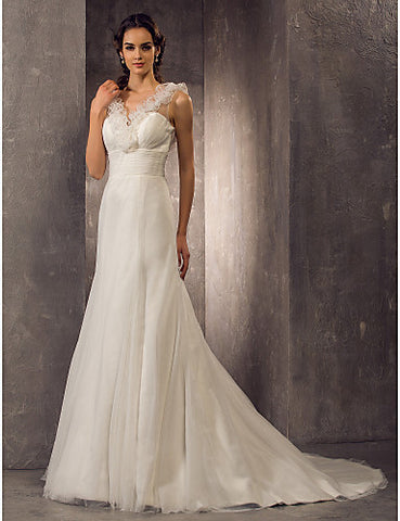 A-line V-neck Sweep/Brush Train Tulle Wedding Dress (586060)