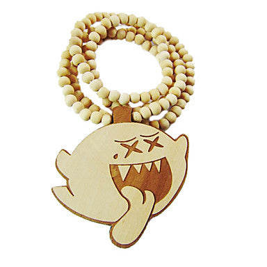 Cartoon Ghost Pattern Wooden Necklace