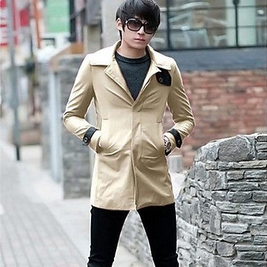 Men's Korean Style Slim Lapel Contrast Color Trench Coat