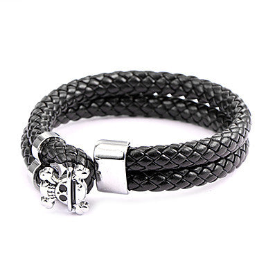 Punk Style Pirate King Black Leather Bracelet(1 Pc)