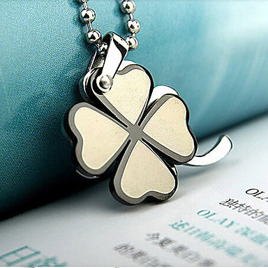 Fashion Happy Clover Titanium Steel Pendants(Black,Silver) (1 Pc)