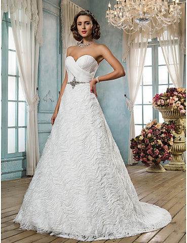 A-line/Princess Sweetheart Sweep/Brush Train Lace And Satin Wedding Dress