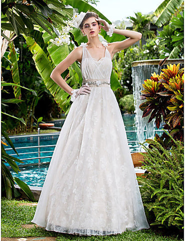 A-line Sweetheart Lace Floor-length Wedding Dresses