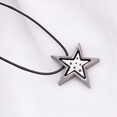 European Star Black Leather Pendant Necklace (1 Pc)