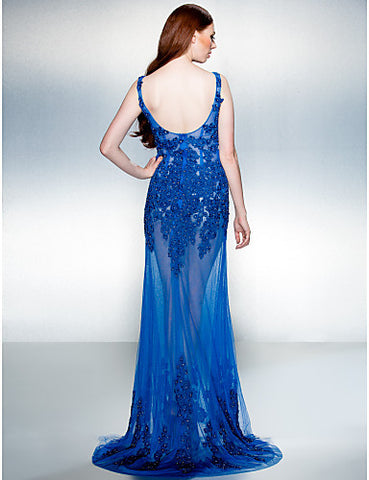 A-line Jewel Sweep/Brush Train Lace And Tulle Evening Dress