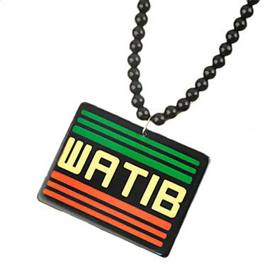 Fashion Hip Hop Style WATIB Pendant Multicolor Acrylic Pendant Necklace(1 Pc)(Black,White)