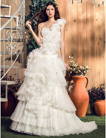 A-line/Princess One Shoulder Court Train Satin And Organza Wedding Dress