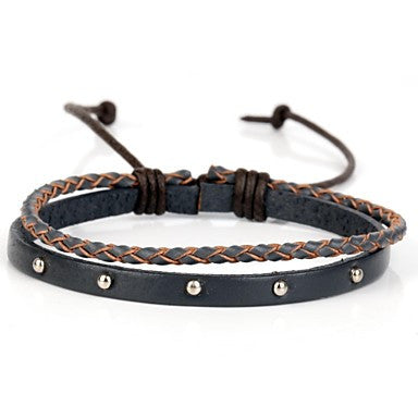 Two Layer Real Leather Bracelet With Rivet And Gray-Blue Braiding (1 Piece)