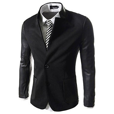 Mens Slim Leather Patched 2 Button Blazer