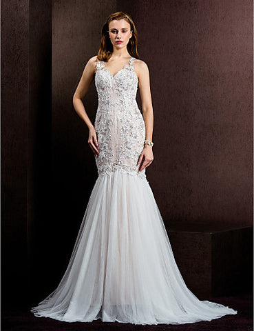 Fit & Flare Jewel Court Train Lace And Tulle Wedding Dress (1798917)