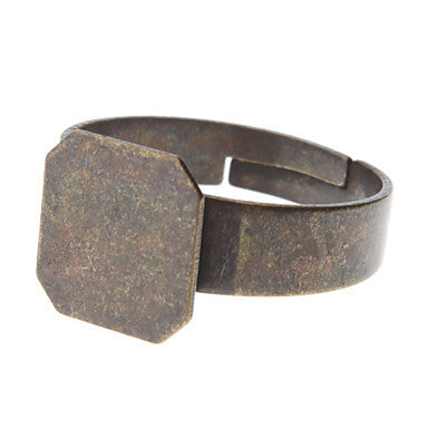 10mm Square Coppery Metal Adjustable Ring (Contain 10 Pics)