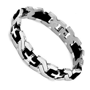Bangle Silver Tone Summer Gift 210mm 304 Stainless Steel Men's Bracelet