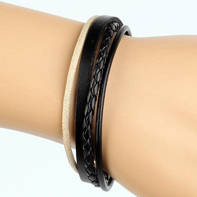 Simple Adjustable Men's Leather Bracelet Very Cool Beige And Black Twist Leather (1 Piece)