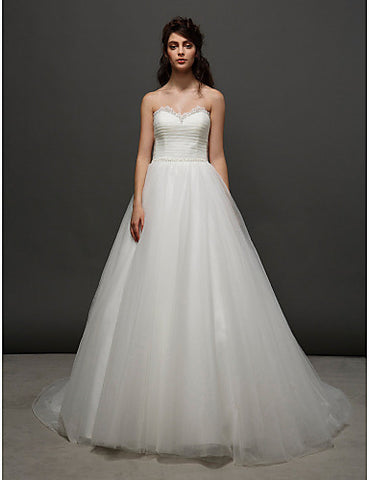 Ball Gown Sweetheart Court Train Tulle Wedding Dress (2448987)
