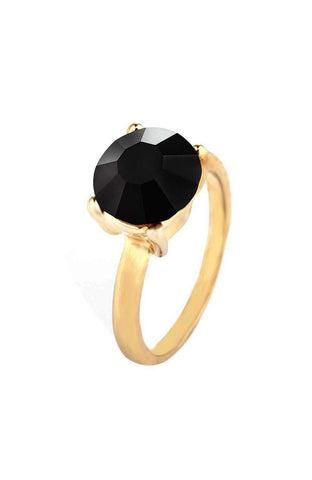 Onyx Rhinestone Classic Four Prong Simple Ring image1