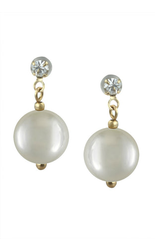 Delicate Dented Pearl Motif Dangle Drop Rhinestone Simple Earrings image1