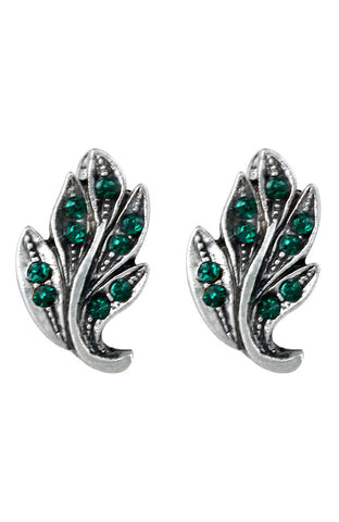 Heirloom Chimeric Green Rhinestones Hinge Latch Simple Earrings image1
