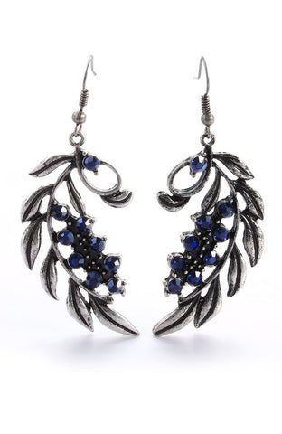 Silver Blue Jewel Feather Hanging Drop Earrings image1