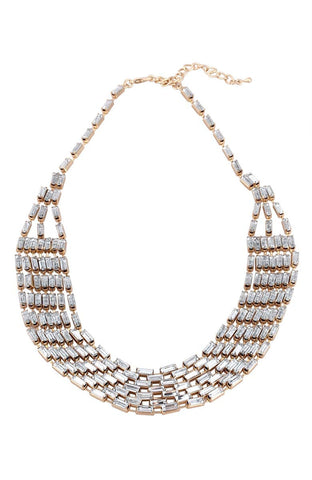 Rhinestone Mosaic Sparkle Statement Necklace image1