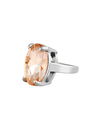 Chunky Peach Gemstone Solitaire Statement Ring image1
