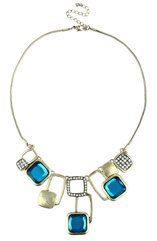 Deep Turquoise Rhinestone Surreal Squares Statement Necklace image1