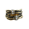 Interwoven Black Gold Gleam Stack Effect Ring image2