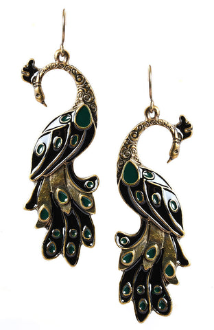 Dusk Shade Metal Peacock Statement Earrings image1
