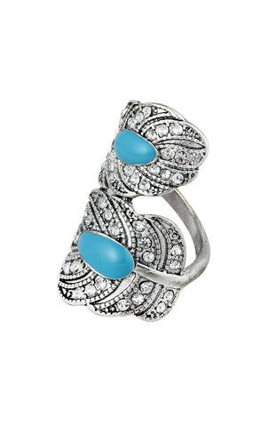 Spiral Leaf Vivid Sky Blue Saddle Ring image1