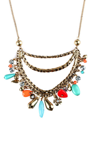 Opera Pendant Hub Rhinestone Bead Dangle Choker Necklace image1