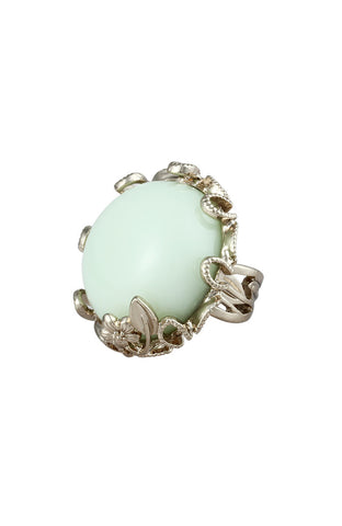 Lime Macaroon Flower Band Jewel Statement Ring image1