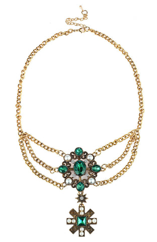 Emerald Pearl Gemstones Exceptional Valor Statement Necklace image1