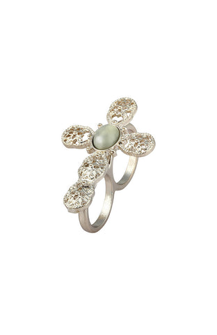 Ornate Crucifix Pistachio Gem Two Finger Ring image1