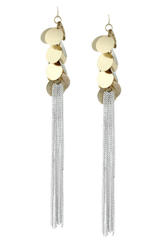 Wind Chime Gold Shine Plates Long Chain Tassel Statement Earrings image1