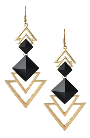 Black Gold Two Tone Geometry Motif Drop Statement Earrings image1