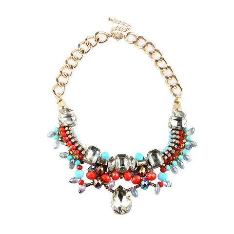 Chunky Charmy Gemstone Choker Statement Necklace image1