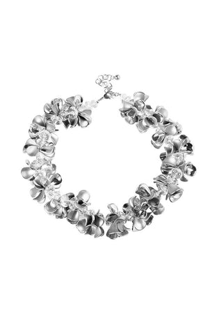 Garland Metal Leaves Rhinestone Statement Necklace