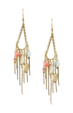 Lantern Bead Tassels Double Dangle Statement Earrings