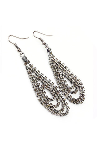 Rhinestone Strand Tear Dangle Hanging Statement Earrings