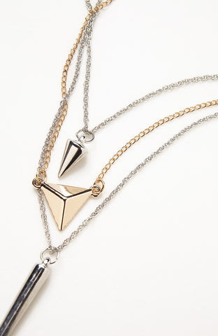 Two Tone Icon Metal Geometry Triple Necklace image1