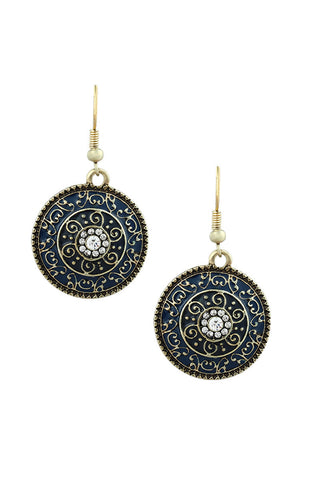 Catalina Blue Artifact Dangle Statement Earrings image1