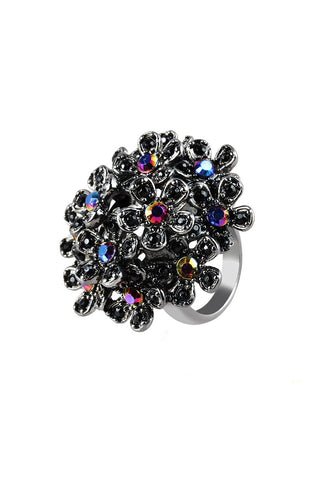 Fractal Flowers Dark Matter Statement Ring image1