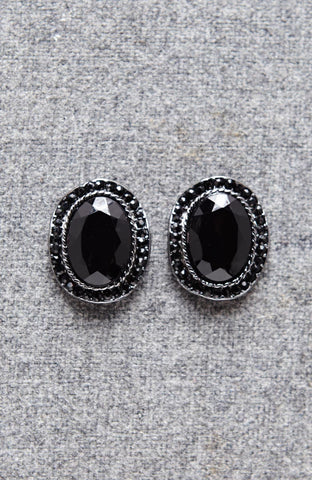 Oval Black Faceted Rhinestone Fringed Earrings image1