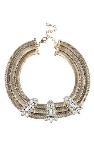 Party Diva Facet Rhinestones Choker Bib Necklace image1